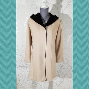 Miriam Joy Loro Piana 100% Wool Beige Hooded Coat